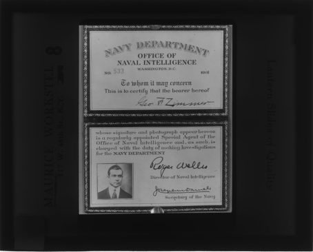 Local Identifier: FLAX-GZ-2- The photo identification of George F. Zimmer identifying him as a Naval Intelligence Special Agent.
