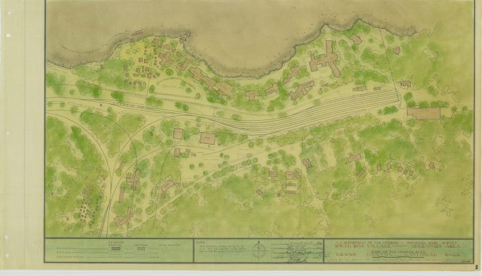 Plan for the South Rim Village area of Grand Canyon National Park, including an employee housing area and services such as a hospital and post office. Visitor facilities are also shown, including a campground and other lodging choices.