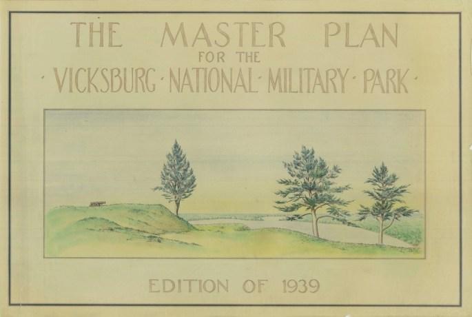 Vicksburg National Military Park Master Plan cover sheet, 1939 showing cannon along river