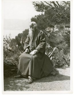 """""""Mr. Rabindranath Tagore, the Hindu poet, Admiring the Beauties of the Cote d'Azur at Cap Martin"""" (306-NT-351E-1)"""
