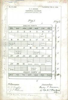 RG-241 Patent 811846: Patent Drawing of C.P. Hidden Perpetual Calendar.
