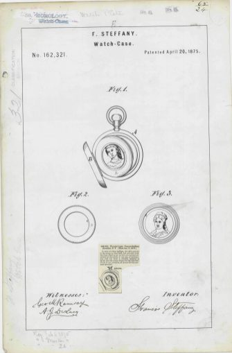 RG-241 Patent 162321: Patent Drawing for F. Steffany's Watch Case