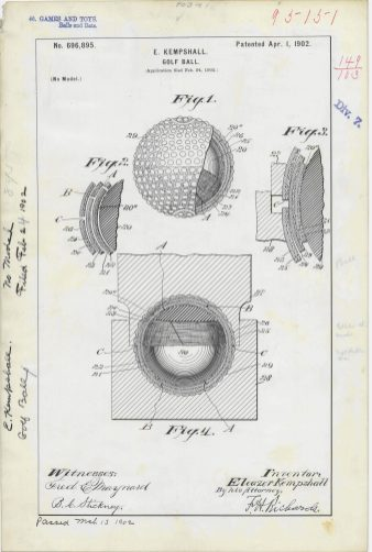 RG-241 Patent 696,895: Patent Drawing for E. Kempshall's Golf Ball
