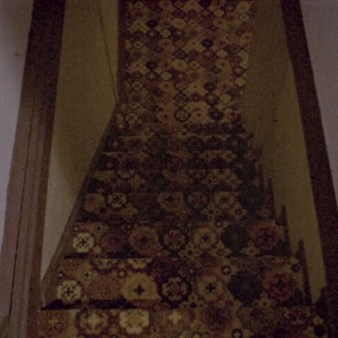"""Poorly-lit, distracting patterned stair treads in """"That Feeling of Falling"""""""