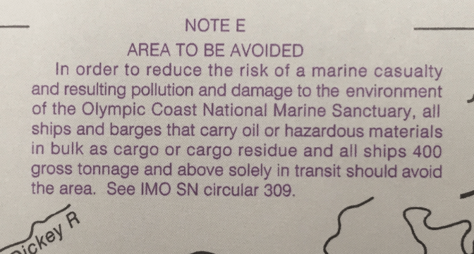 One of the advisory messages from Nautical Chart map number 18480 pertaining to the Olympic Coast National Marine Sanctuary