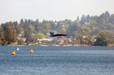 The lead solo pilot with the US Navy (USN) flight demonstration team, the Blue Angels, performs a high-speed, low level pass in a USN F/A-18A Hornet over Lake Washington during Seattle's SEAFAIR events in Seattle, Washington (WA). SEAFAIR is Seattle's month-long traditional summer festival, with parades, amateur athletics, air shows and boat racing. [2005] Local Identifier: 330-CFD-DN-SD-06-05013 (https://catalog.archives.gov/id/6668671)