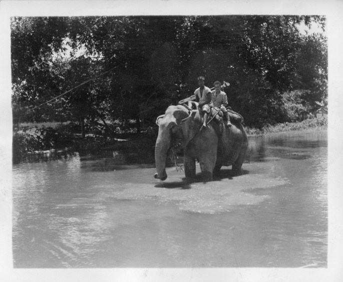 21 Sept. 1944. Motion Picture Cameraman T/4 Louis Raczkowski rides through the swamps on the back of an elephant during a job in Assam.