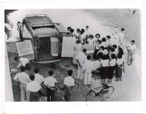 Bookmobile Service Inaugurated at USIC Bangkok. On February 12, 1951, the U.S. Information Center, Bankok, inaugurated its bookmobile service using the combined mobile unit and bookmobile furnished by the Department (306-CS-8c-7)