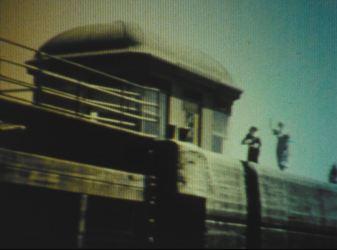 Waving farewell at the Hiram M. Chittenden Locks in Seattle.