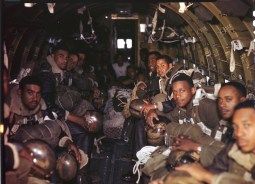 342-C-K3751 NAID: 148728170 Original Caption:OperationFirefly- A C-47 of Troop Carrier Command carries these parachutists of the 555th Parachute Infantry Battalion to the scene of a remote fire in Wallowa forest, Oregon. Men of this unit have made over 8000 jumps since the first of April 1945.