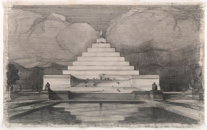 John Russell Pope's Competition Proposal for a Ziggurat Style Monument to Abraham Lincoln