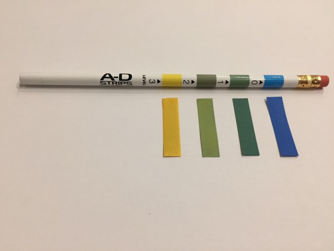 A pencil is shown with four strips of colored paper, arranged yellow, yellow-green, green-blue, and blue.