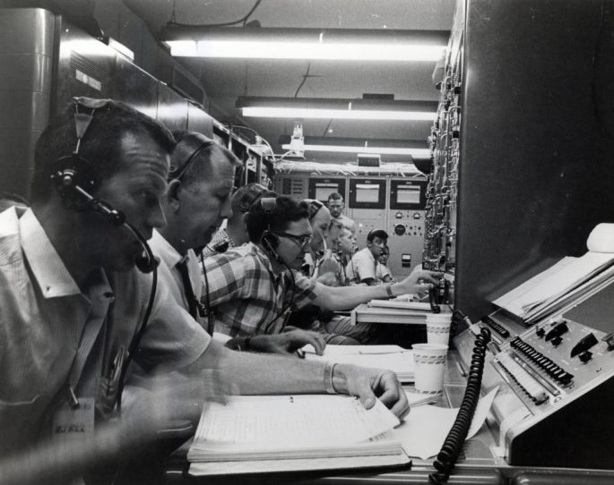 Photograph of Gordon Cooper during Simulated Mercury Redstone Rocket Flight