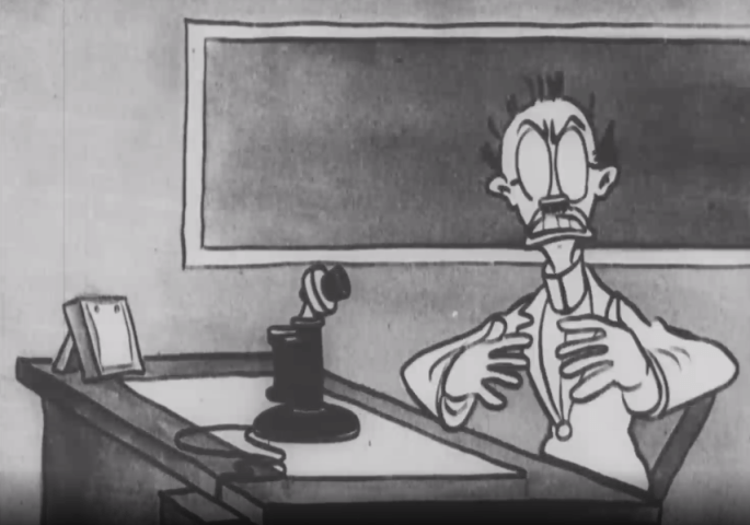 A cartoonish sketch of a man who looks alarmed. The man is sitting at a desk in front of an old fashioned telephone.