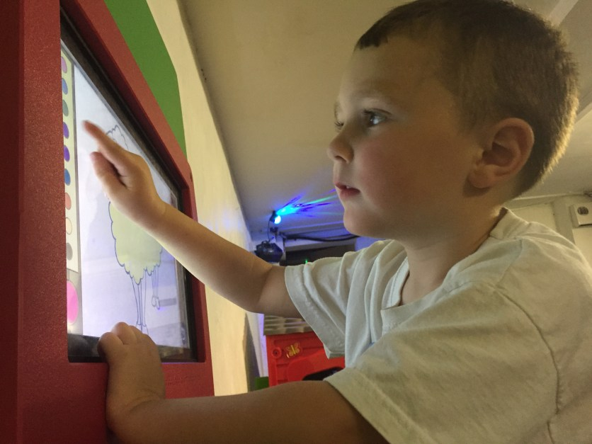 Colouring in technology at the play cafe