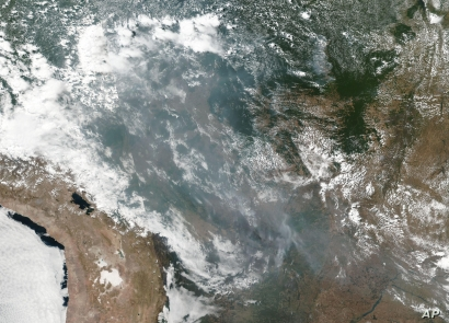 This satellite image provided by NASA shows the fires in Brazil on Aug. 20, 2019. As fires raged in the Amazon rainforest, the  government denounced  critics who say President Jair Bolsonaro is not doing enough.