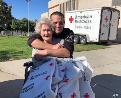 Jonathan Stahl, 41, of Valencia, Calif., and his 91-year-old grandmother Beverly Stahl of the Sylmar area of Los Angeles, pose…