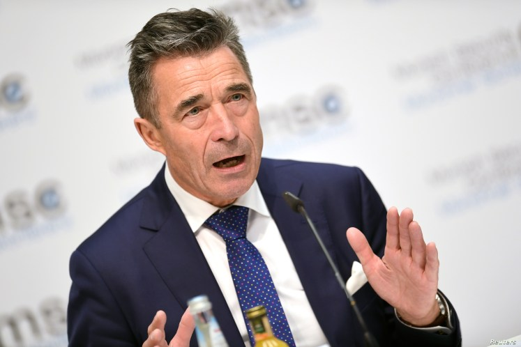 Anders Fogh Rasmussen, former Prime Minister of Denmark and former NATO secretary-general, speaks during the annual Munich Security Conference in Munich, Germany Feb. 16, 2019.