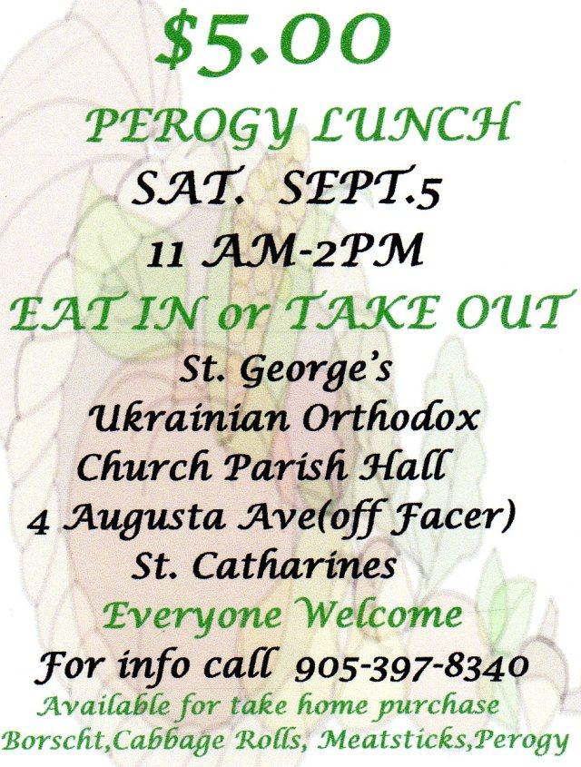 $5 Perogy Lunch: St. George's Ukrainian Orthodox Parish Hall, St. Catharines ON