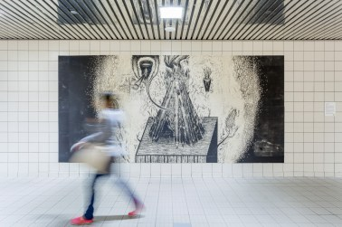 Public installation of section of The Flood, printed gampi pasted on wall with starch glue, Churchill LRT Station, Edmonton, Alberta, Canada, 2016. (Photo Credit: Blaine Campbell)