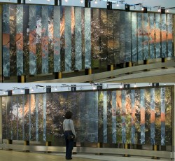 Public Commission Touching Water: Anticipation and Memory, 2004 Permanent public Art commission for Edmonton International Airport Digital outputs mounted on 42 aluminum panels size: 200 x 700 cm (6.56 ft x 22.96 ft.)