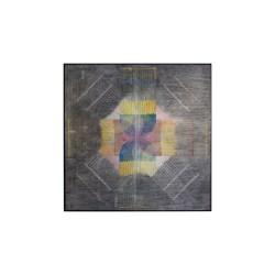 """""""Background Radiation I"""" woodcut, mixed media, on paper on wood panel, image size: 140cm x 140cm, 2014,"""