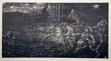 Chase, 2 colour reduction woodcut on BFK Rives, 25 in x 44 in, 2014