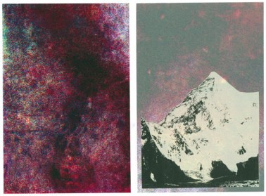 Surface 8 from the Highlands series, front and back view, matte-mylar screen printed on both sides, 6 in x 9 in, 2014