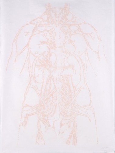 """Title: Pearls (blush), v.1 Date: 2014 Media: collagraph on Mulberry Image/Paper Size: (h) 51 x (w) 37"""""""