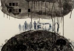 Dispossession 2016 intaglio, chine-collé 24 x 36 inches