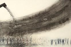 Migration 2016 intaglio, chine-collé 24 x 36 inches