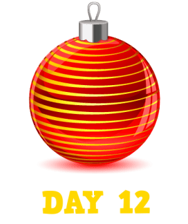 Animation: Red Christmas Bauble with Gold lines. Text: Day 12
