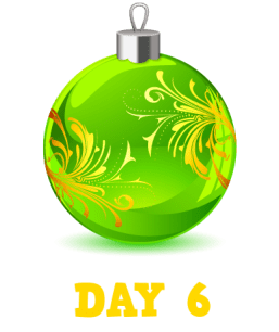 Animation: Green Christmas Bauble with Gold Feathering. Text: Day 6