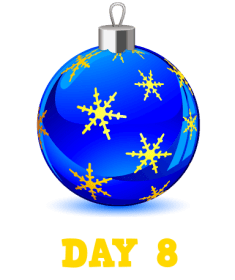 Animation: Blue Christmas Bauble with Gold Snowflakes. Text: Day 8