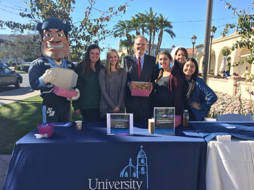 Photo courtesy of Twitter/@usdpres USD students join President Harris and Diego Torero for an afternoon of donuts and community.