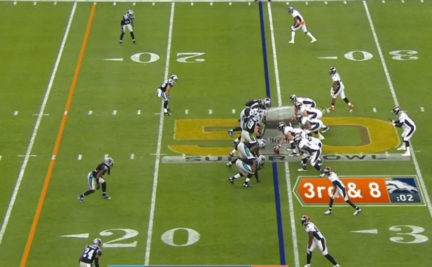 Many NFL broadcasts today include graphics for the down and distance, line of scrimmage, first down marker and play clock. Photo courtesy of NFL/YouTube