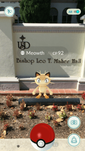 Walker Chuppe / The USD Vista Students can find Pokémon in front of Maher Hall.