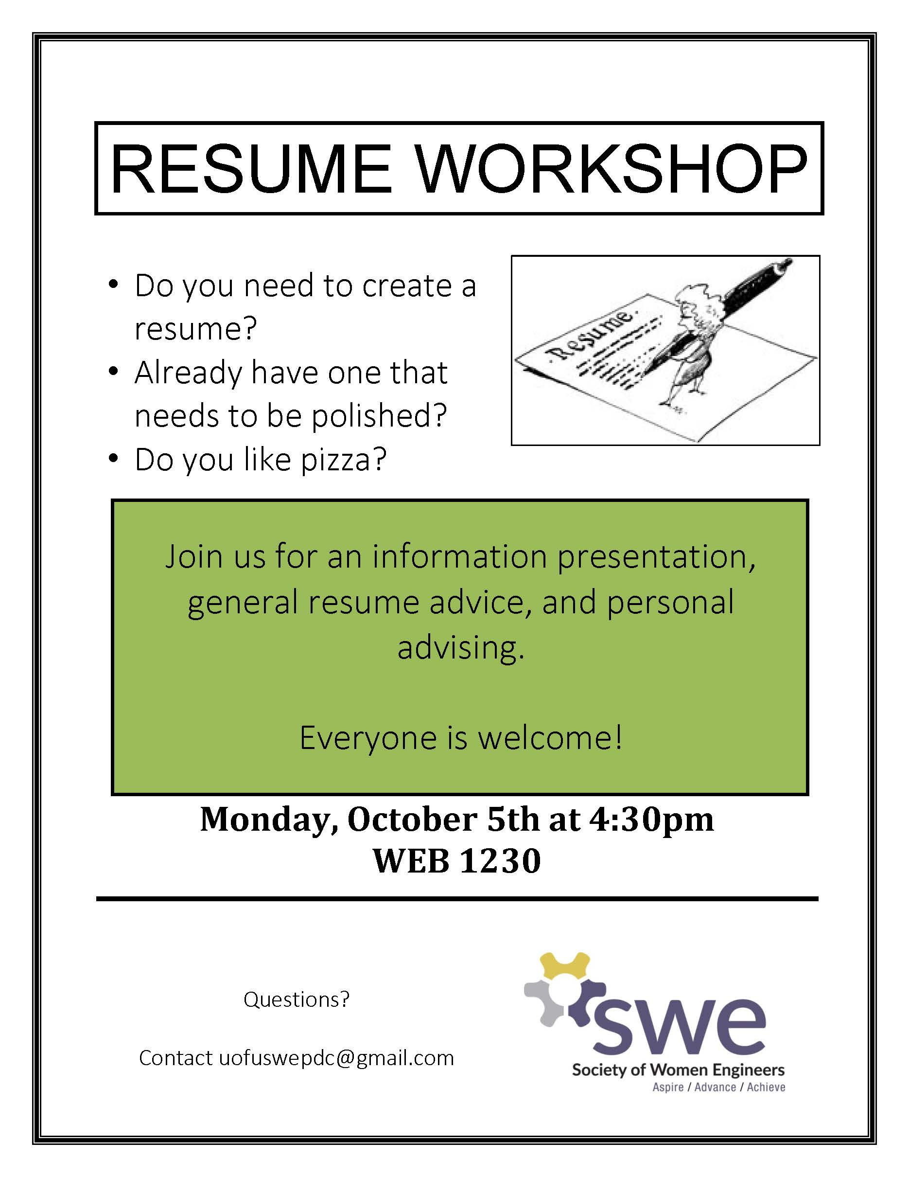 resume workshop swe at the university of utah