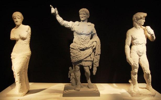 "Nathan Sawaya ""Venus de Milo,"" ""Augustus of Prima Porta,"" and Michelangelo's ""David."""
