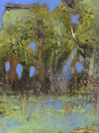 Fabio Salafia, Mimesi di paesaggio. olio su tavola 2015 25x18 cm
