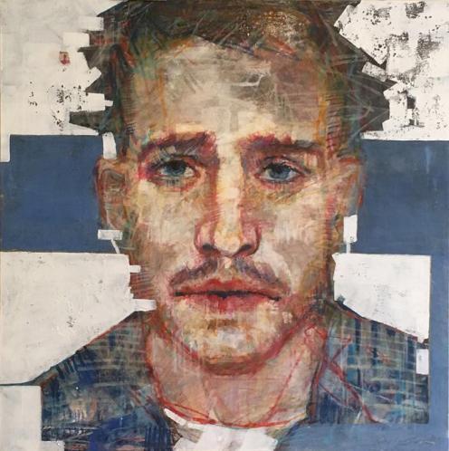 Luisiano Schiavone, Mauricio, tecnica mista su tela, 80x80