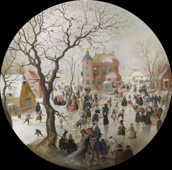 A Winter Scene with Skaters near a Castle by Hendrick Avercamp (1608-9)