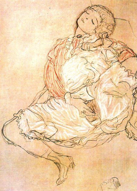 """Gustav Klimt_s """"Frau bei der Selbstbefriedigung"""". Eros e sesso nell'arte"""