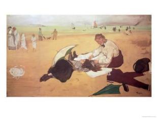 Beach scene_ little girl having her hair combed by her nanny_ c.1876-77 _ Edgar Degas