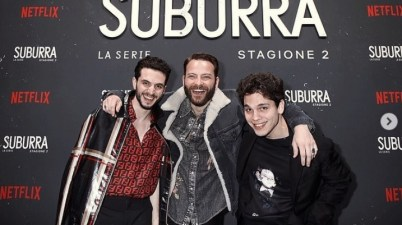 Alessandro Borghi, Giacomo Ferrara, Eduardo Valdarnini per il party di Suburra