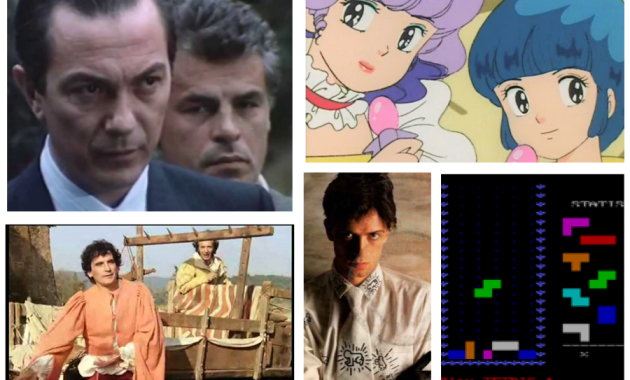 """Cinque fenomeni """"pop"""" del 1984: il film Non ci resta che piangere, il singolo Self Control di Raf, L'incantevole Creamy, la serie tv La Piovra, il videogioco Tetris"""