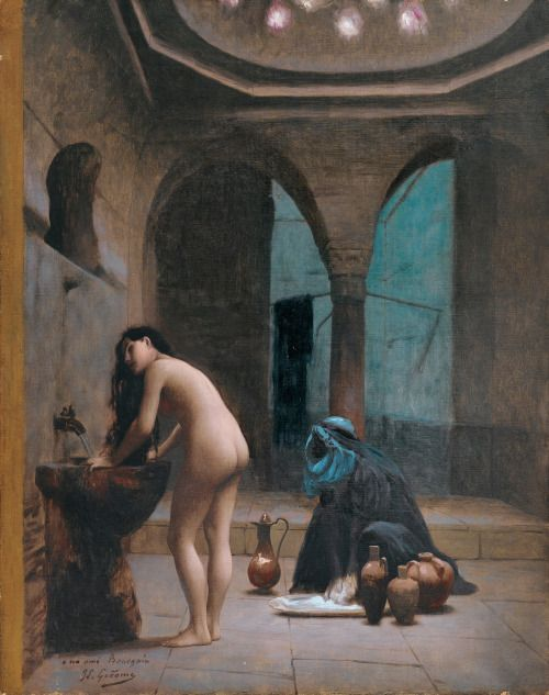 A Moorish Bath Turkish Woman Bathing No 2 by Jean-Léon Gérôme
