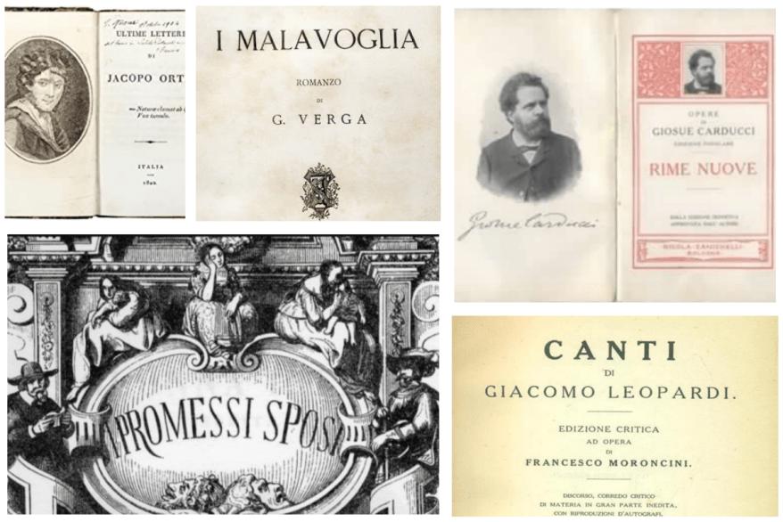 l'Ortis di Foscolo, I promessi sposi di Manzoni, i Canti di Leopardi, le Rime di Carducci e I Malavoglia di Verga