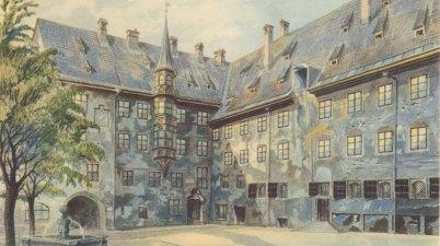 Il cortile della vecchia residenza di Monaco di Adolf Hitler