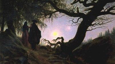 Un uomo e una donna davanti alla luna di Caspar David Friedrich